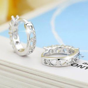 Jewelry - NEW 925 Sterling Silver Diamond Hoop Earrings